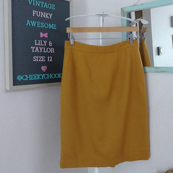 Vintage Dresses & Skirts - Lily & Taylor vintage wool pencil skirt mustard